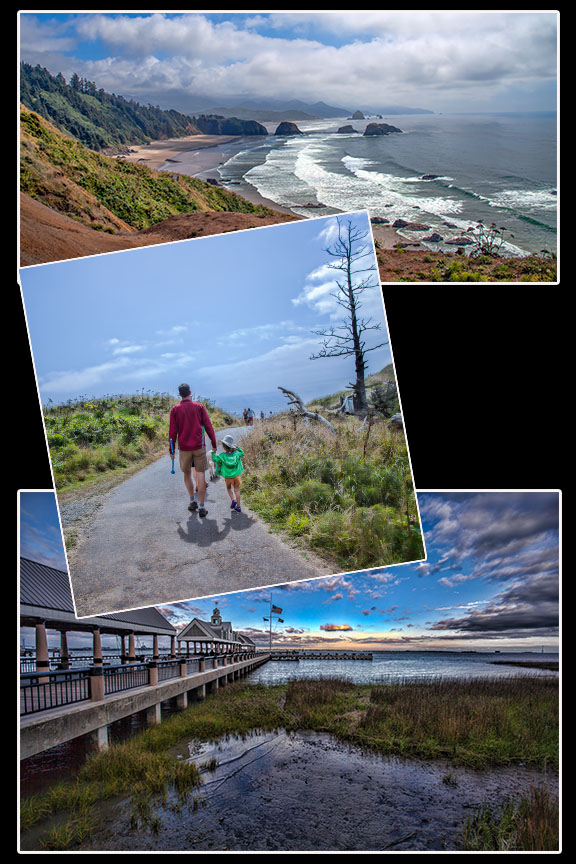 Cannon Beach (top), Ecola State Park Walk (middle), and Charleston Boardwalk