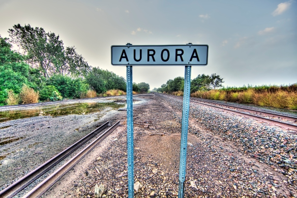 Railroad tracks near Aurora, Kansas